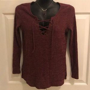 American Eagle Outfitters Tops - American Eagle Plum heather lace-up top small